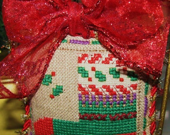 Completed Cross Stitch Christmas Stocking Christmas Needlework Fiber Art