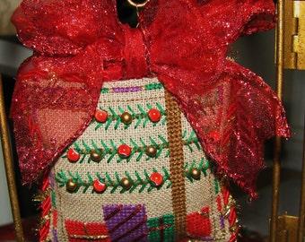 Completed Cross Stitch Christmas Tree Ornament Needlework Fiber Art