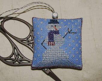 Completed Cross Stitch Snowman Scissor Fob Metallic Threads Hand Painted Fabric
