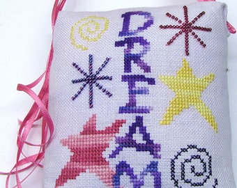 Completed Cross Stitch Dream Cross Stitch Ornament Pillow hand dyed linen fabric