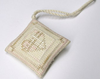 Shabby Chic Heart Collection by Liberty Street Designs completed Cross Stitch Scissor Fob Ornament
