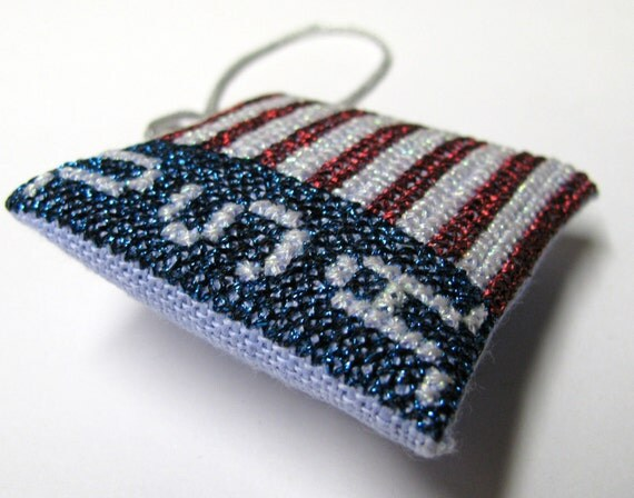 Patriotic Scissor Fob God Bless by Liberty Belles Completed Cross Stitch Ornament