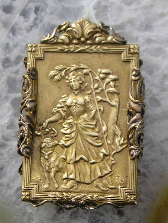 The Shepherdess in beautiful old brass..