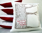 custom heart -- tree print pillow cover -- personalized names or initials, 2nd anniversary gift, gifts for her, gifts for him, wedding gifts