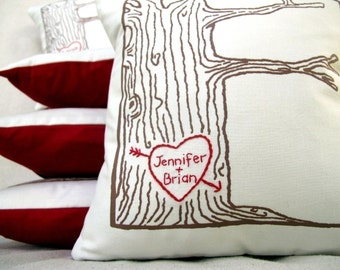 cover WITH insert -custom heart- tree pillow - personalized names or initials, anniversary pillow, gift for her, gift for him, wedding gift