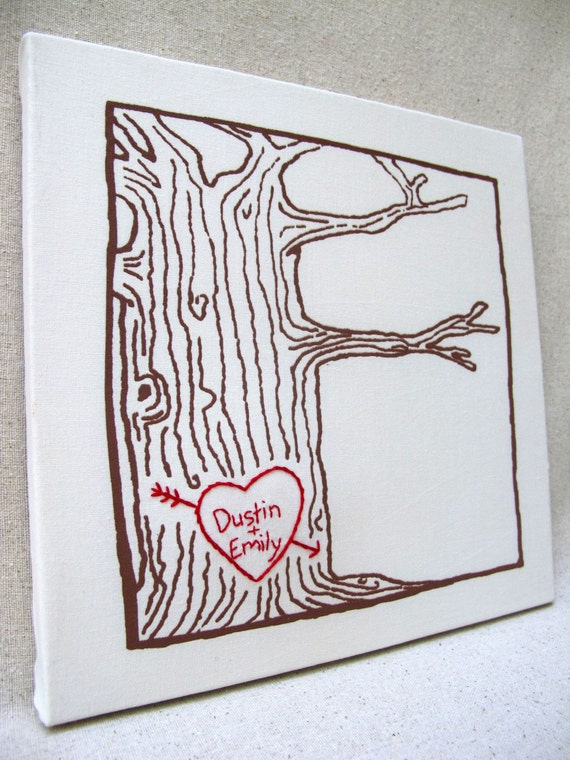 custom heart -- tree print wall art -- personalized with your names or initials