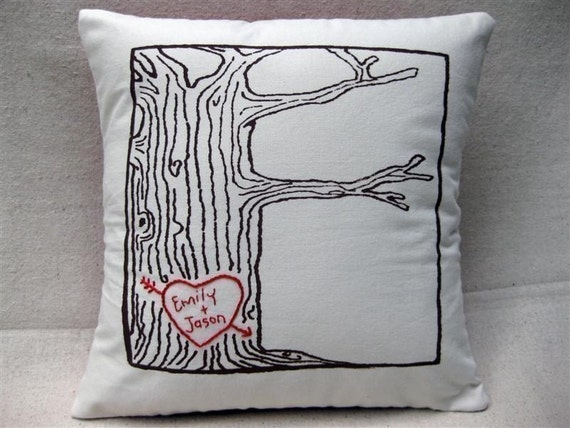 Personalized Butterfly Heart Throw Pillow Cover : custom heart tree print pillow cover personalized with