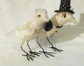 Vintage Style Spun Cotton Love Birds Wedding Cake Topper Made to Order