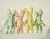 Set of 4 Spun Cotton Vintage Style Easter Bunny Ornaments