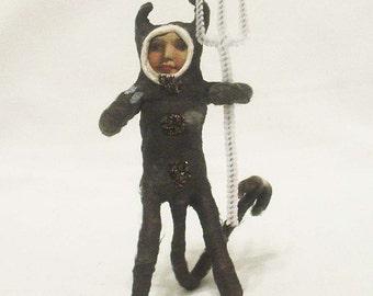 Vintage Style Spun Cotton Black Devil Halloween Figure/Ornament