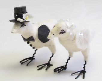 Vintage Style Spun Cotton Love Birds Wedding Couple Figures/Ornaments