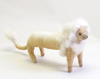 Vintage Inspired Spun Cotton Lion Ornament/Figure