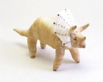 Vintage Inspired Spun Cotton Triceratops Dinosaur Ornament/Figure