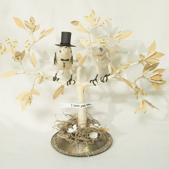 Vintage Style Spun Cotton Birds in a Tree Wedding Cake Topper Made to Order