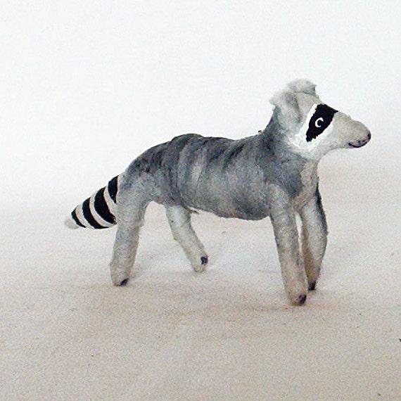 Spun Cotton Vintage Inspired Raccoon Figure