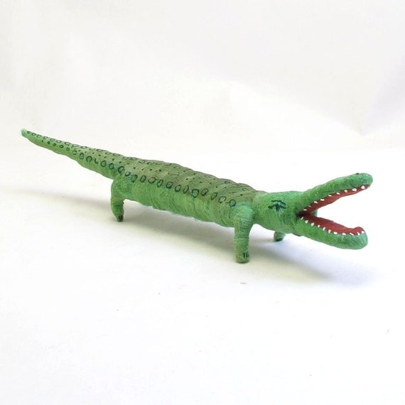 Vintage Inspired Spun Cotton Alligator Ornament/Figure