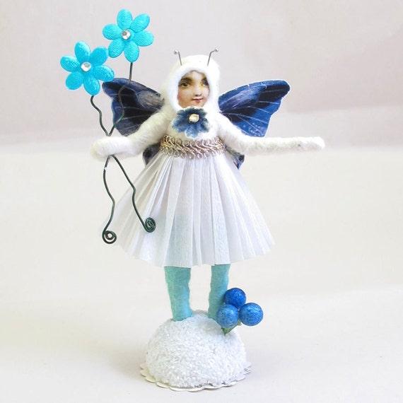 Vintage Inspired Spun Cotton Spring Blue Butterfly Girl Figure OOAK