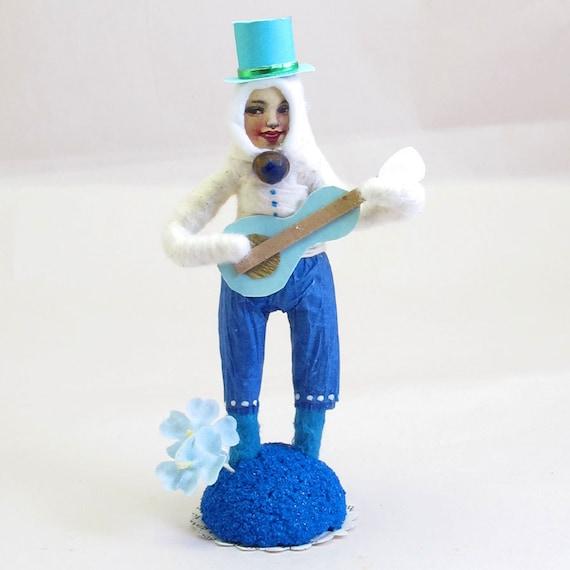 "Vintage Inspired Spun Cotton ""Mr Duet"" Guitar Playing Boy Figure OOAK"