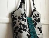 Everyday Tote in Linen and Black Floral Silhouettes with Teal Ruffle