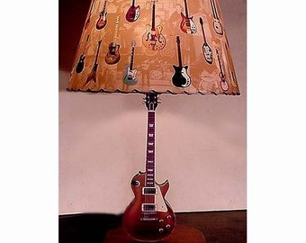 Guitar Lamp and Lamp Shade Vintage Les Paul Gold Top