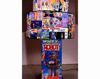 Tin Robot Box lamp DOUBLE DECKER  LAMPSHADE