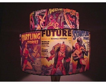 Vintage Startling Stories Amazing Stories Double Decker Lamp Shade