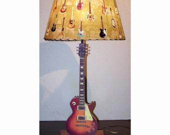 Guitar Lamp and Lamp Shade Vintage Les Paul Sunburst