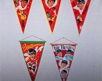 1960's Spanish BEATLES PENNANTS, with corrected names, acutal size 9.5 x 5 full set of 5 REPROductions