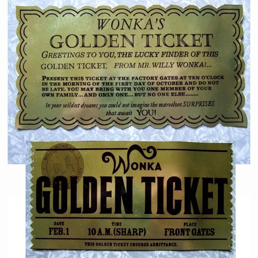 This is a photo of Slobbery Wonka Golden Ticket Printable