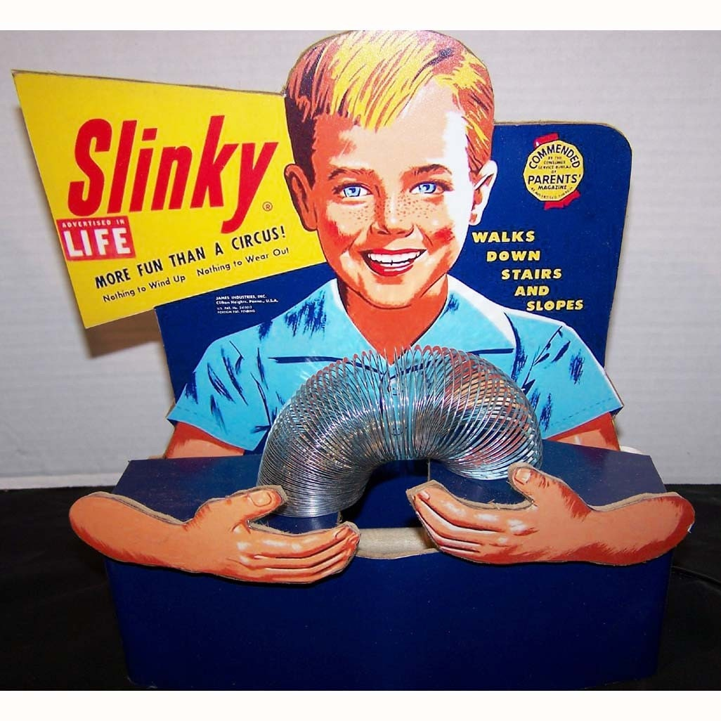 Toys From 1953 : Desktop slinky toy store counter display