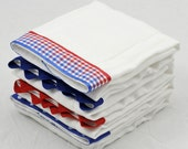 RED and BLUE Burp Cloth Bundle, newborn gift, 4 coordinating cloths for baby boy or girl