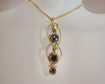 Wire Wrapped Gold Filled Black Diamond Pendant