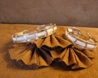 Mother of Pearl Beads set in 14K Rolled Gold Wire Wrapped Bangle Bracelet