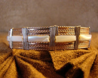 Mother of Pearl Rectangular Beads set in 14K Rolled Rose Gold Wire Wrapped Bangle Bracelet