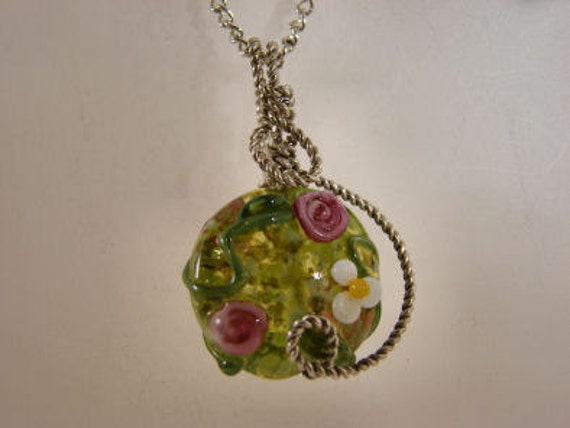 Sterling Silver Floral Lampwork Pendant, green, pink, white, yellow