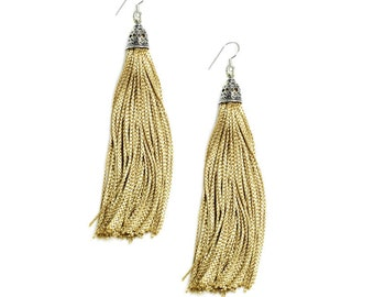 The Fringes - Sterling Silver & Rayon Earrings - The Rich Gold