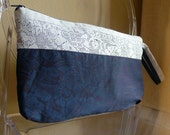 wristlet with white vintage lace, embroidery and dark blue damask fabric - pippa clutch