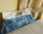 clutch with eyelet lace and watercolor fabric in periwinkle blue - pansy eyelet wristlet