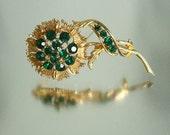 Large Green Flower Pin Brooch Rhinestone  Unused Vintage