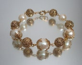 Vintage Filigree Bead and Faux Pearl Bracelet Shop Small