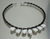 Weiss Black White Glass Necklace Vintage