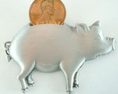 JJ Piggy Bank Pin with Penny Vintage Brooch