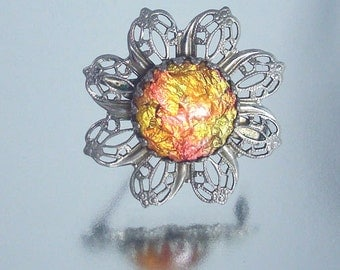 Vintage Filigree Foil Autumn Pin Unused