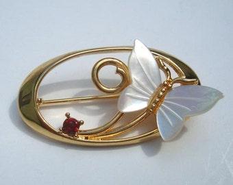 Mother of Pearl & Garnet Butterfly Pin Unused Vintage