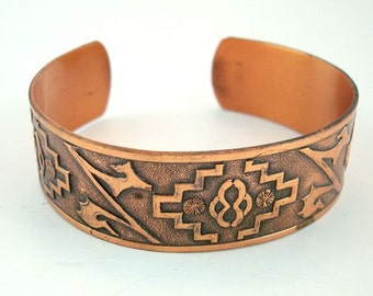 Copper Cuff Bracelet Southwestern Design Wide