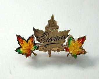 Antique Sterling Enameled Emma Autumn Leaf Pin