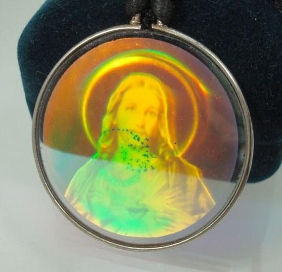 Vintage Jesus Hologram Necklace Unused