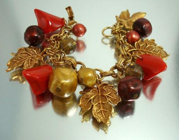 Vintage Bakelite and Bead  Charm Bracelet Unused
