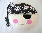 Pillow Baby - Girl Skulls - Sparkles - Ahoy Matey - with Pink Minky - throw pillow