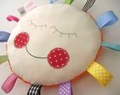 Doll Face Baby Nursery ..Sensory Pillow - Security - lovey - PILLOW BABY Hattie -Round - Rainbow RIBBON Pillow Great Shower Gift - Etsykids